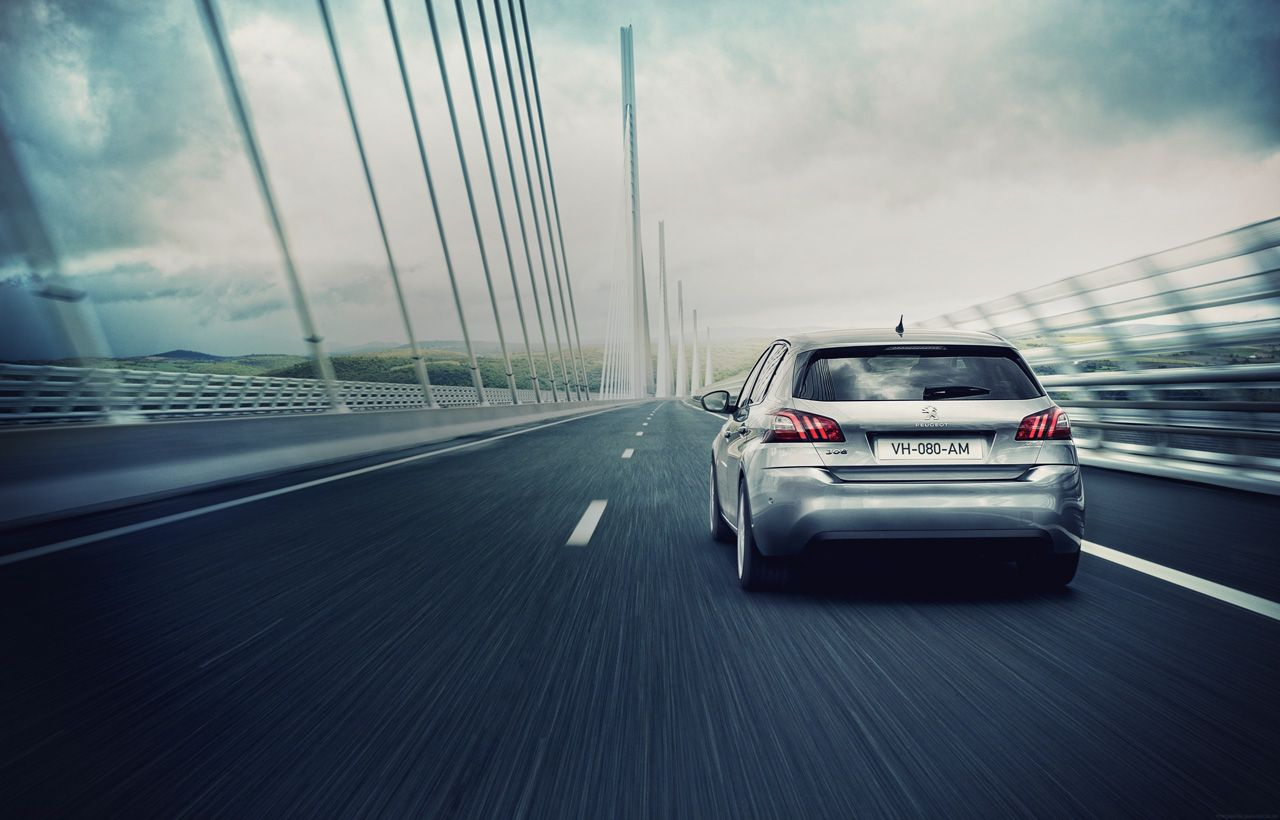 The #Peugeot308 hits the road and take the bridge ! #landscape #car #Peugeot