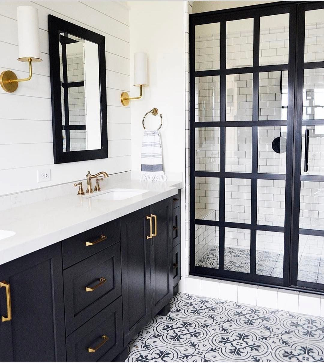 black and white bathroom beauty with cement tile, steel frame