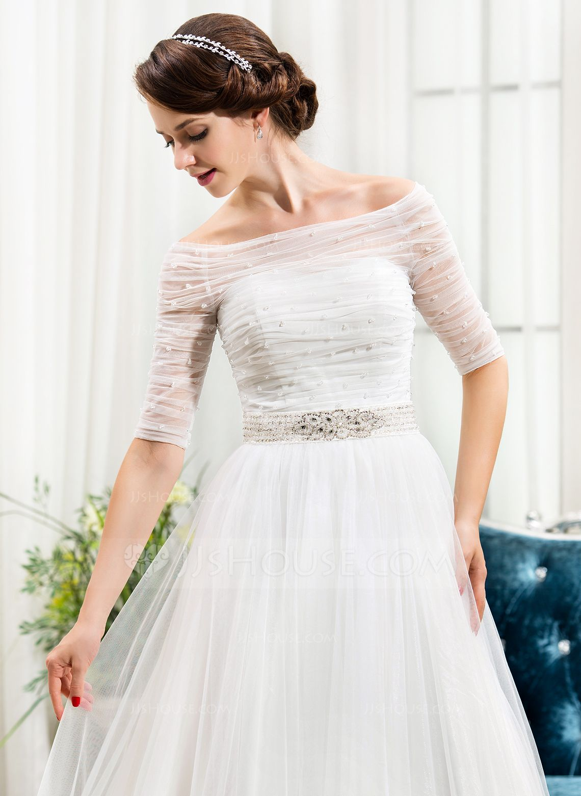 A-Line/Princess Off-the-Shoulder Chapel Train Satin Tulle Wedding Dress With Ruffle Beading Sequins (002056488) - JJsHouse