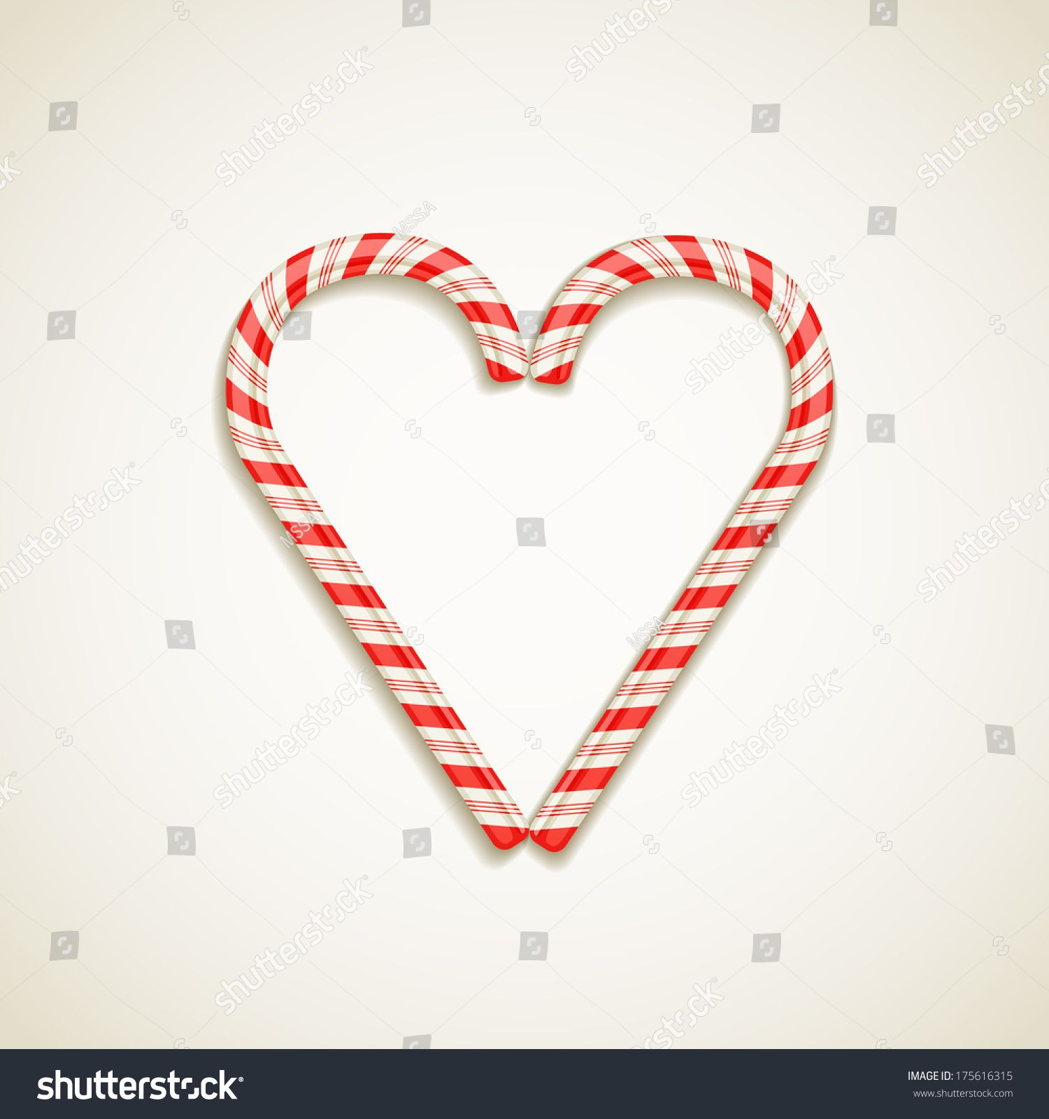 candy canes shape of heart vector illustration love