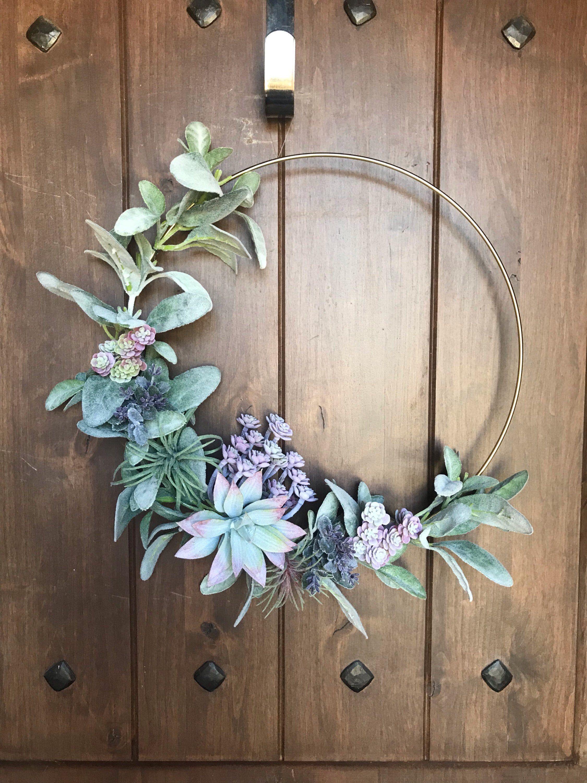 Photo of Succulent Wreath, Succulent Hoop Wreath, Modern Wreath, Boho Decor, Boho Wreath, Wall Decor, Home Decor