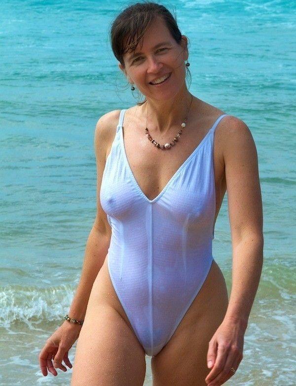 Mature thong bikini sheer