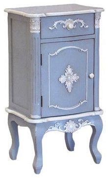 Shabby chic french blue bedside table traditional for Mobilia kitchen table