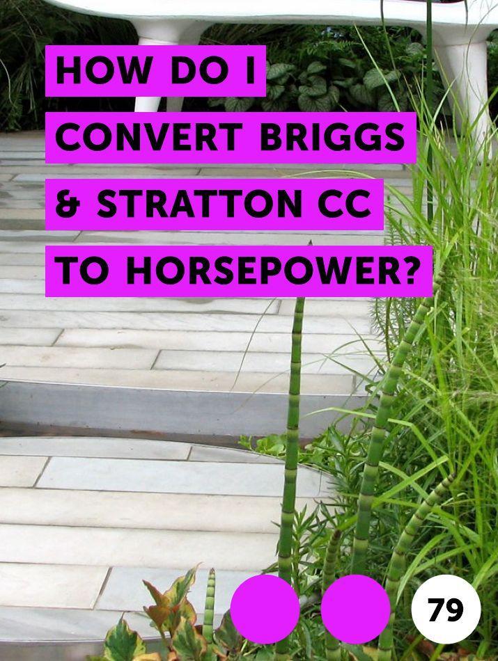 How do I Convert Briggs & Stratton CC to Horsepower? St