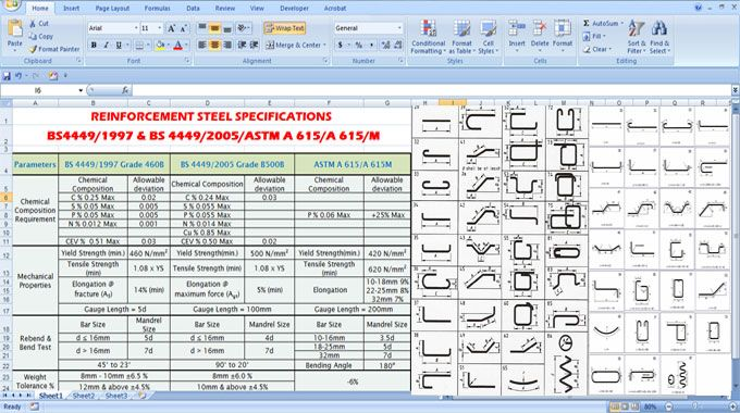 Download Steel Work BBS - Bar Bending Schedule - bill of material