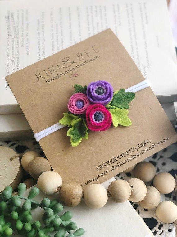 Felt Floral baby toddler girls headband, Poppy Cluster Headband, Felt flower crown headband, Fuchsia #crownheadband