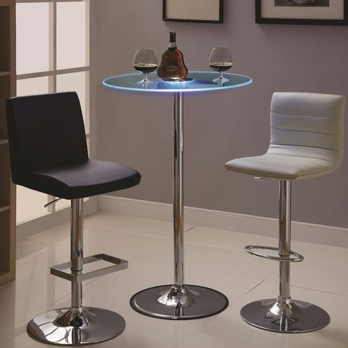 Transitioning Tempered-Glass-Top LED Bar Table with Chrome Base