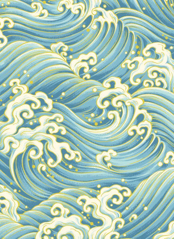 Japanese Waves Patterns by Hyakka Ryoran - Matsuri   # ...