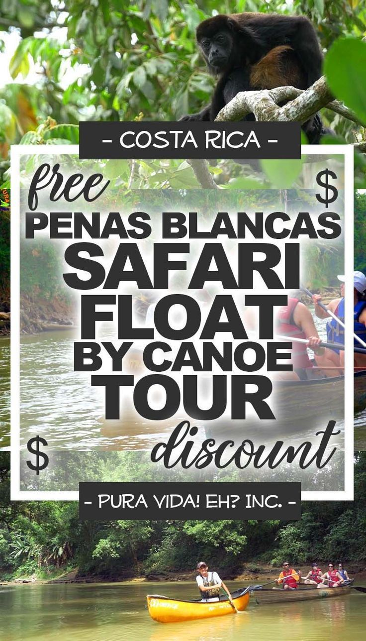 Use our free Safari Float by Canoe Tour discount to save money while exploring rivers in Costa Rica! Costa Rica discounts courtesy of Pura Vida! eh? Inc. #costarica #discount #discounts #travel #traveltips #cheaptravel #savingmoney #traveldiscounts #costaricatravel #costaricadiscounts #puravida #puravidaeh #vacation #lafortuna #arenal #safaris #rivers #canoeing #wanderlust #wildlife #adventure #nature