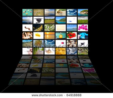 Tv screen showing pictures, all used images are my property
