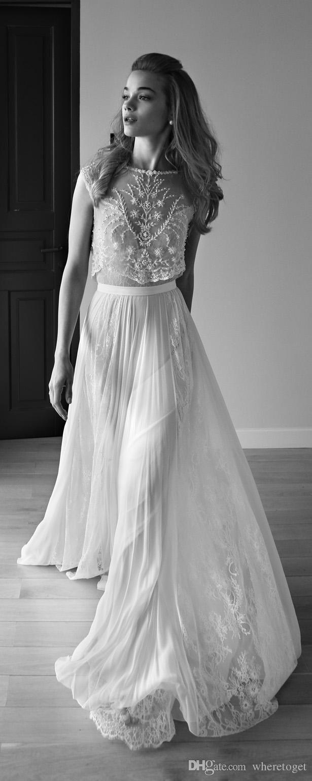Vintage bohemian wedding dress   Sexy Backless Wedding Dress Sheer Neck Low Back Pearls Beading