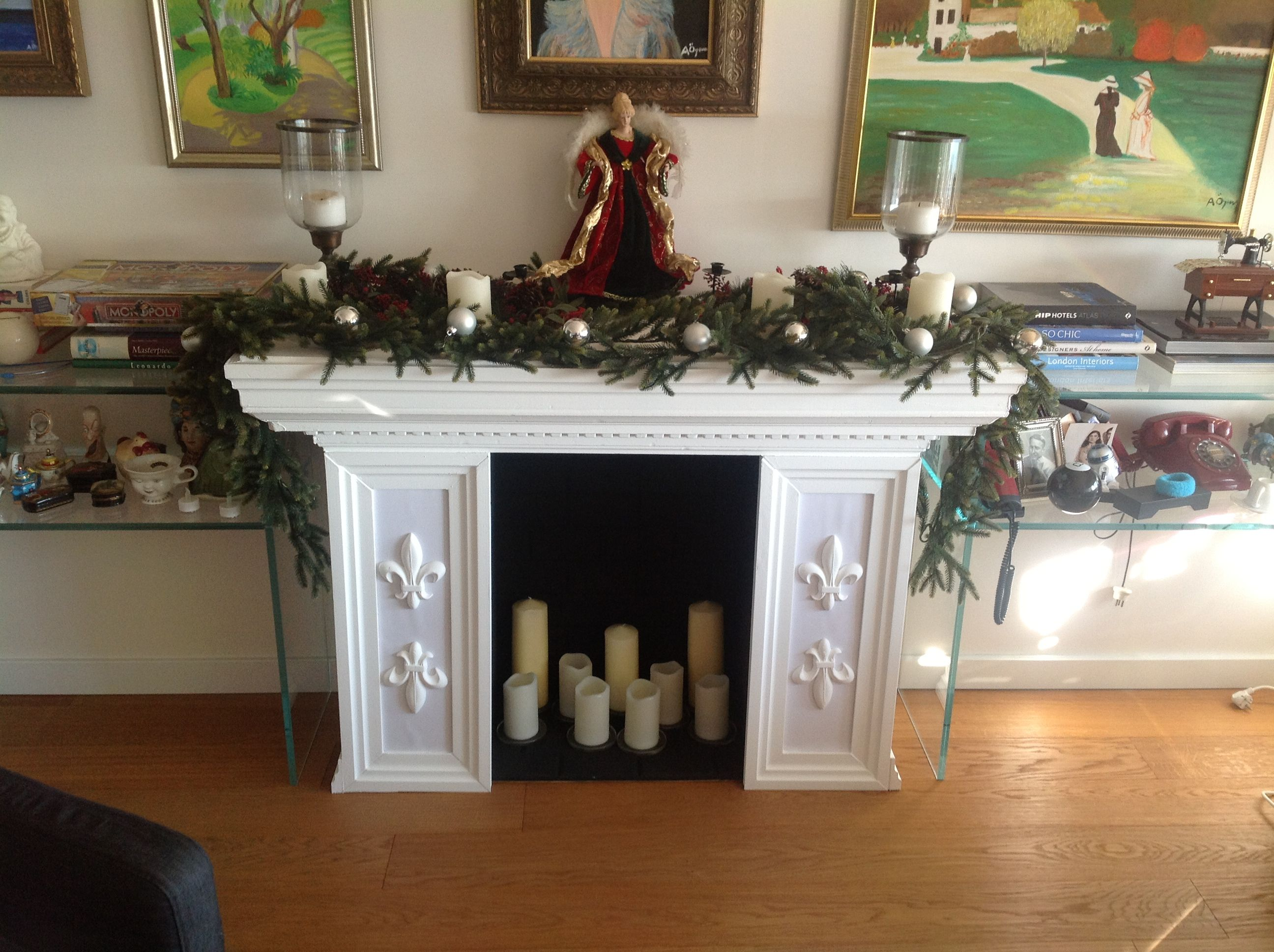 Faux fireplace made out of cardboard and styrofoam. Can