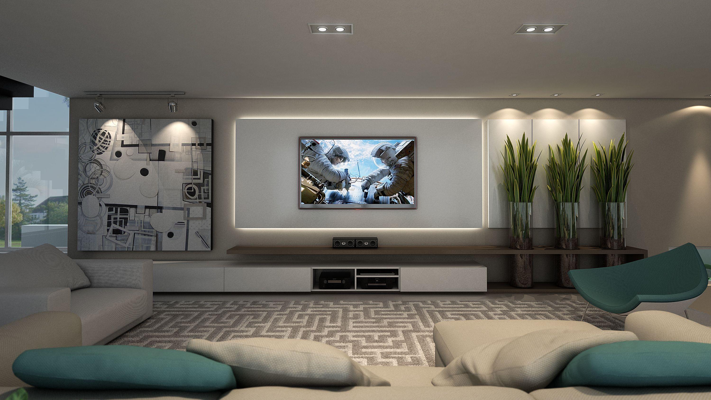 Projeto by NK Arquitetura - Nicolle Nogueira e Katherine Heim Weber - Painel TV | Sala de Estar Más