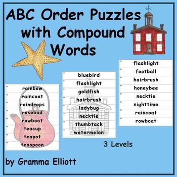 ABC Order Puzzles with Compound Words in Color and BW with Self ...