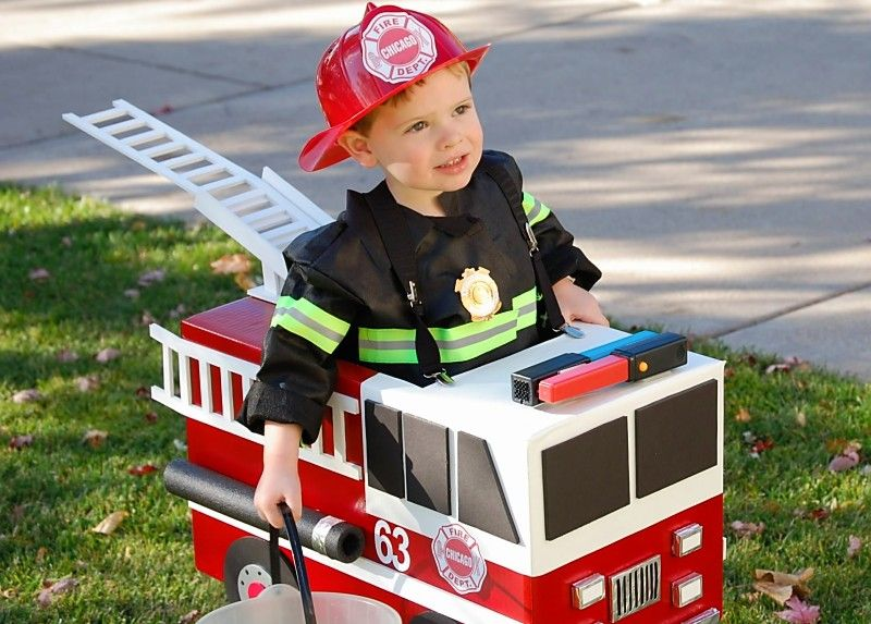 firetruck costume.  Recreate this but with a felt truck.... start planning now