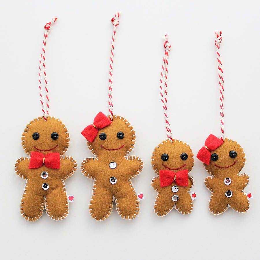 Gingerbread Family Gingerbread Ornamentsfelt Ornamentsgingerbread  Mangingerbread Decorationschristmas