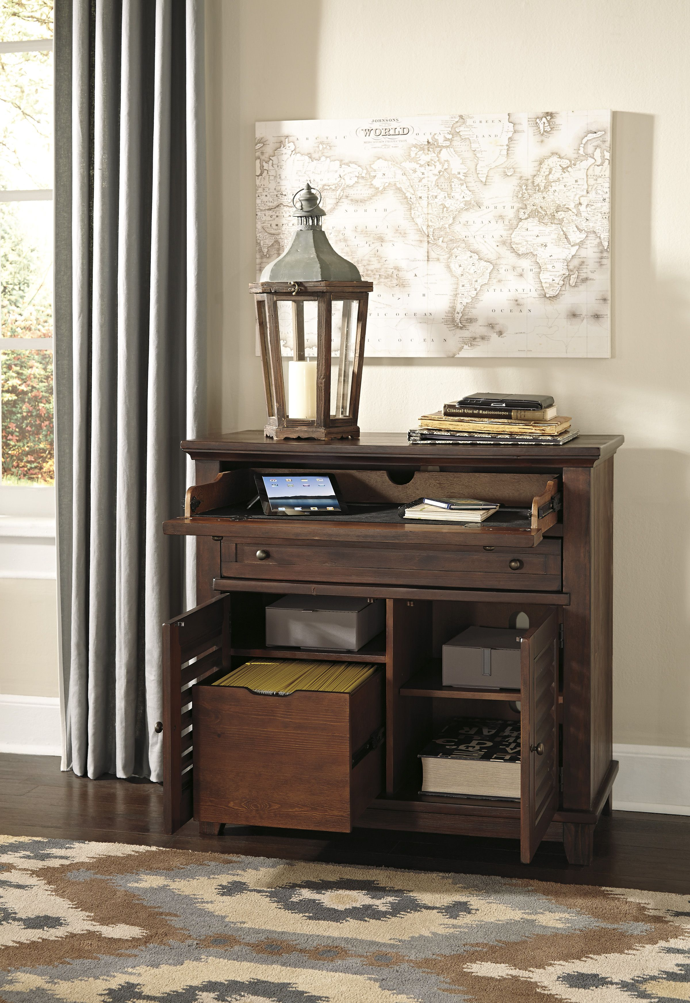Space saving hallway furniture  Clever hidden desk fits in bedrooms family rooms even hallways