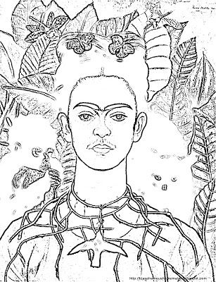 the blasphemous homemaker famous female artist coloring pages frida kahlo - Artist Coloring Page