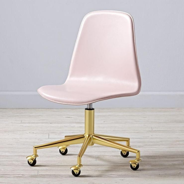 Leather Pink And Gold Desk Chair