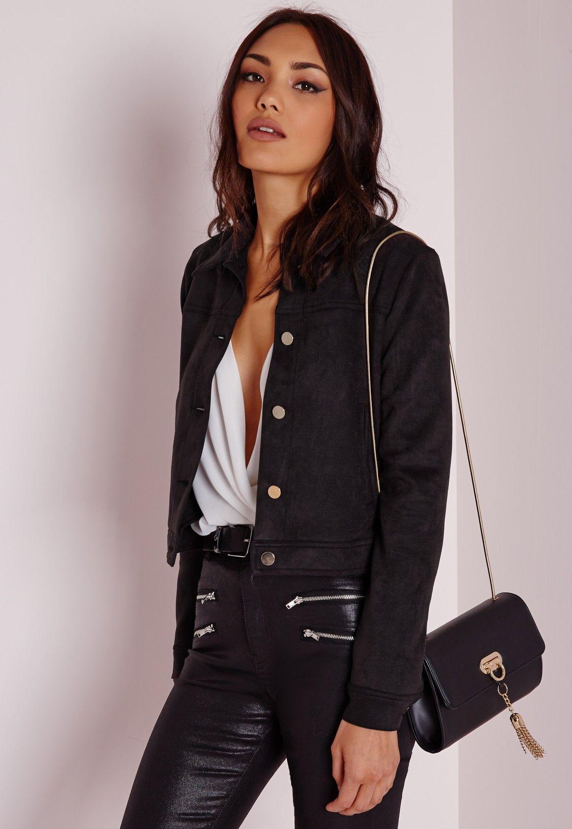 Dorés Dorés Style Missguided Veste Daim Daim Faux Boutons Avec En Noir Rg0H4