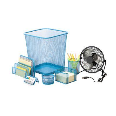 Honey Can Do Desk Essential Supplies Organizer Kit Color: Blue