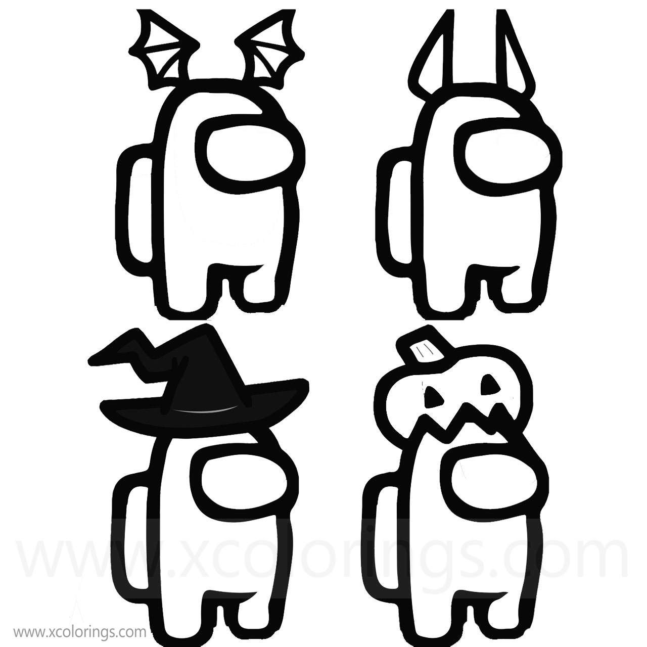 Among Us Coloring Pages Halloween Costumes Skins Hats In 2020 Coloring Pages Halloween Costumes Halloween Costume Hats