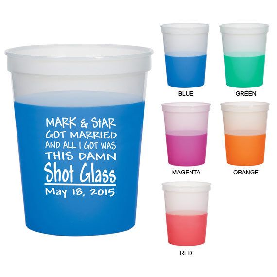 16 oz Wedding Mood Stadium Cups (Clipart 1880) Souvenir - Color Changing Cups - Custom Party Cups - Personalized Cups - Plastic Cups