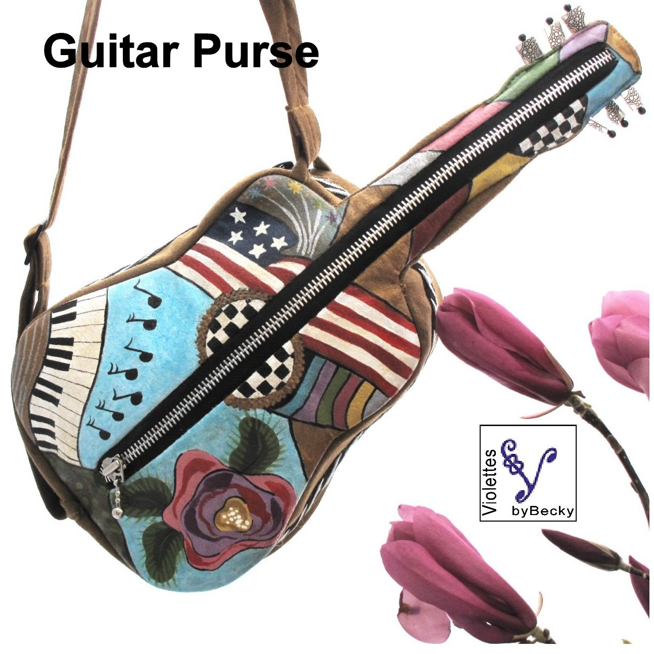 Violettes by Becky Guitar Purse Xmas Gifts for Music Purse Lovers Designed and Hand Painted in Tennessee