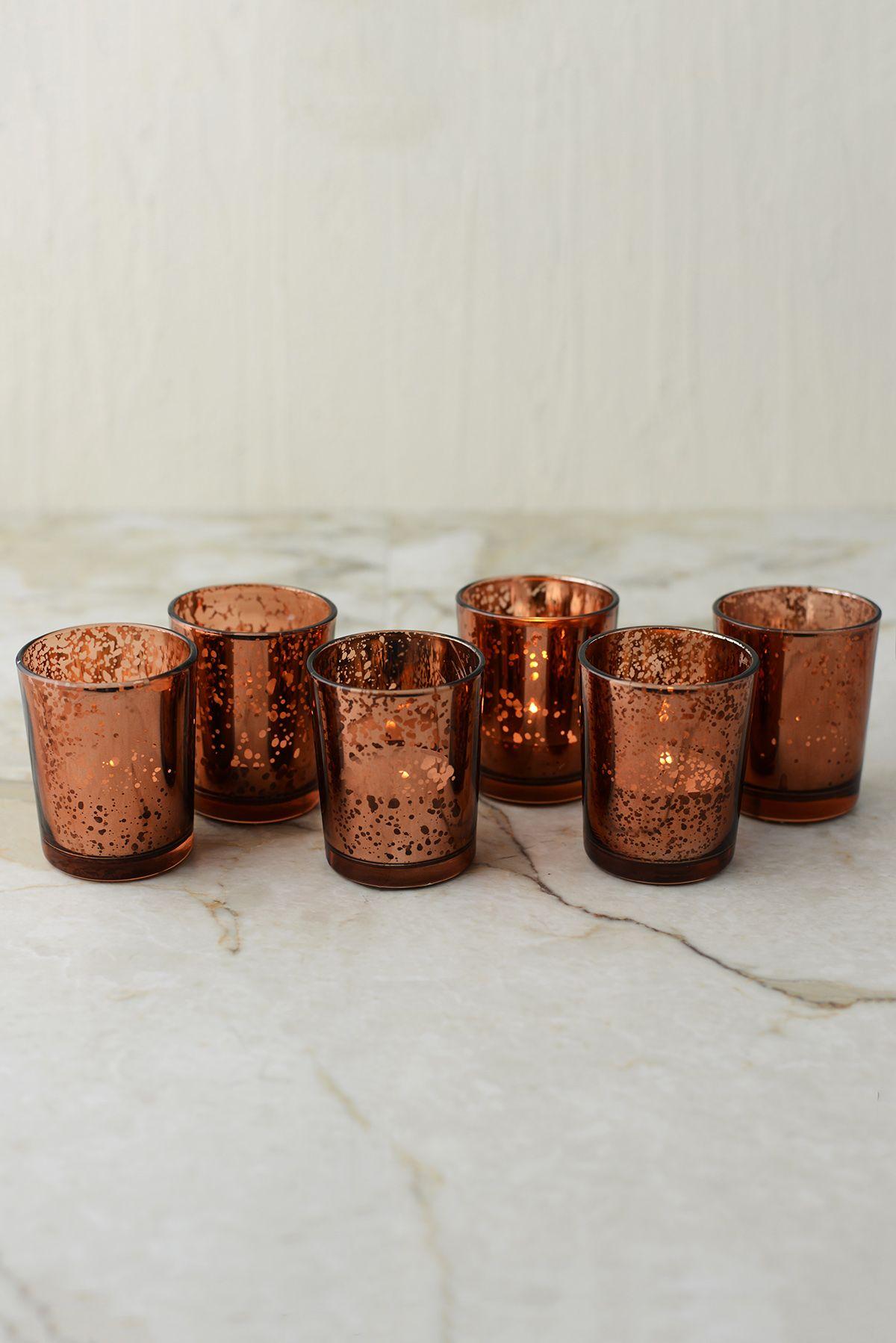 6 copper mercury glass votive holders