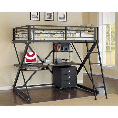 Full Zayne Loft Bed Powell Company Black Products In