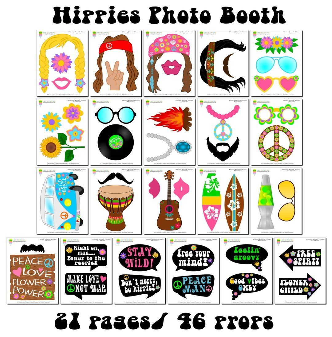 Printable Hippies Photo Booth Props 60 S Photo Props Hippie Props Happy Fiesta Design Photo Booth Props Hippie Party Photo Booth
