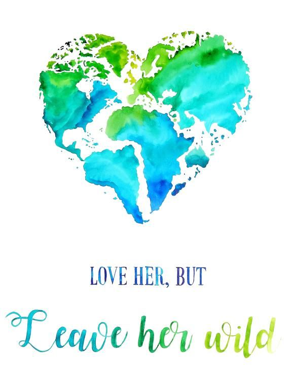 Original Watercolor - Heart Shaped Map of The World - Travel ...