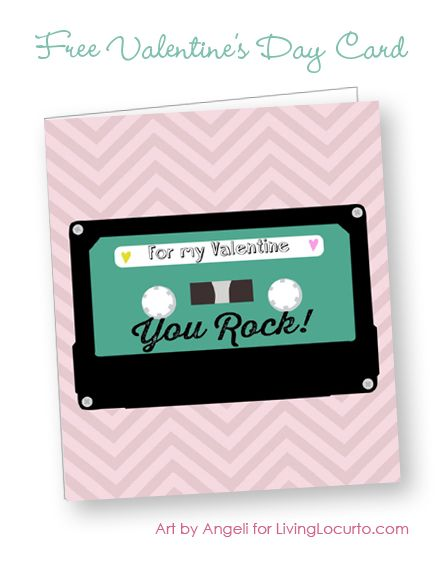 Free Printable Retro Cassette Valentine Card - Design by Angeli for ...