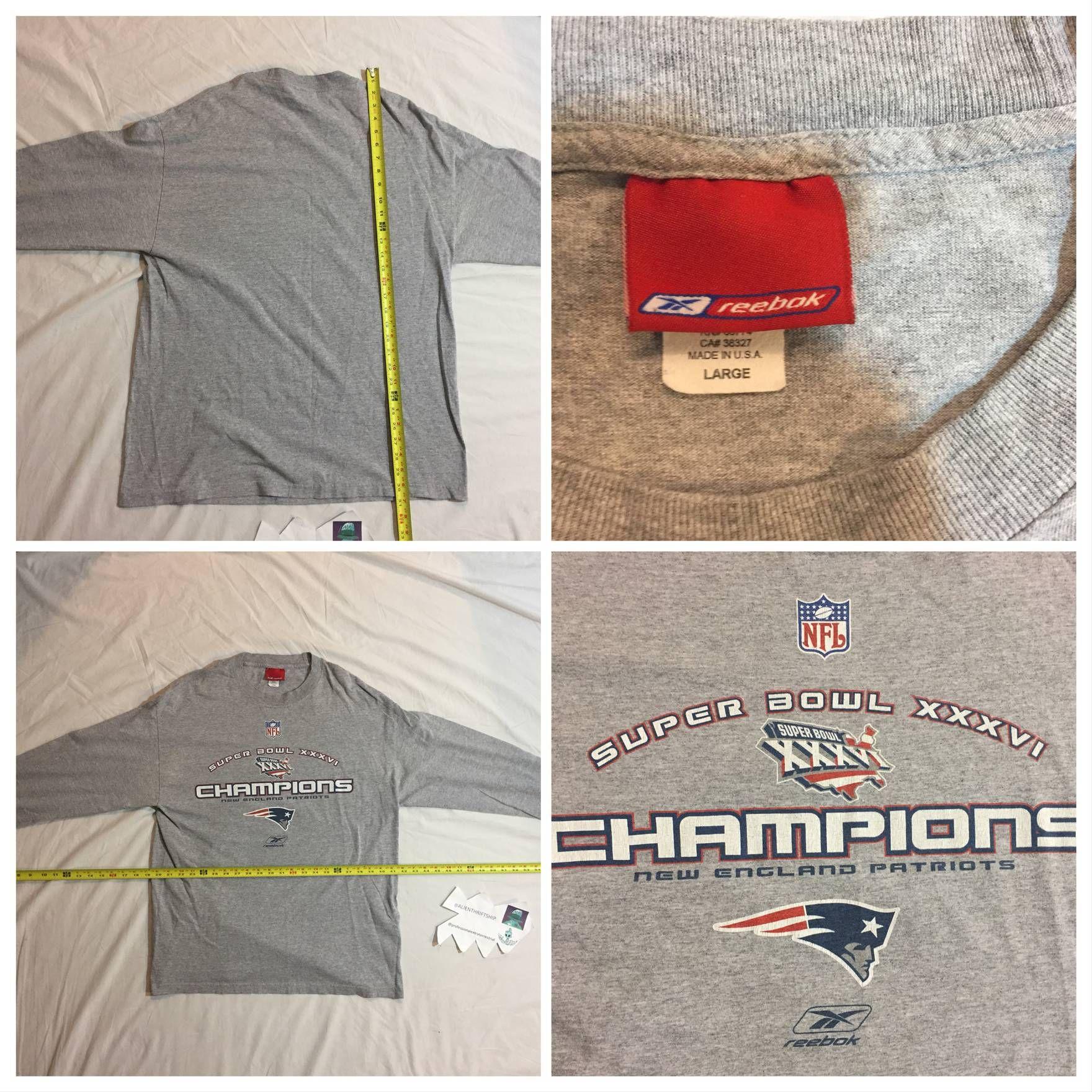 4f3b69c5 Vintage Vtg New England Patriots 2004 Super Bowl Champions Long Sleeve  Graphic T-Shirt Gray Grey Large Vintage Size US L / EU 52-54 / 3 - 1