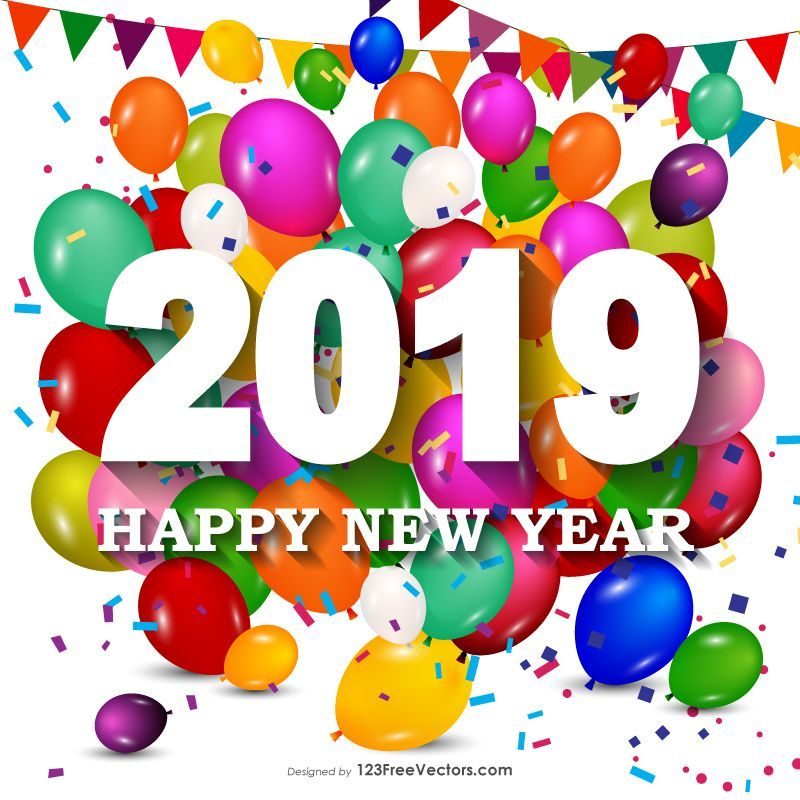 Happy New Year Background Happy New Year 2019 Colorful Balloons