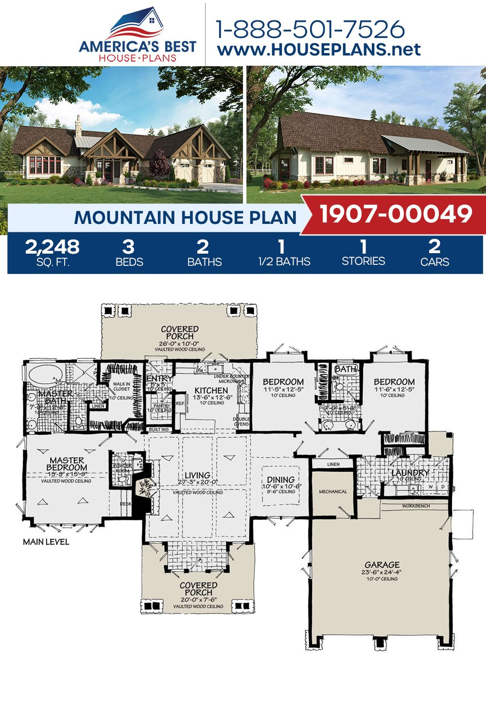 House Plan 1907 00049 Mountain Plan 2 248 Square Feet 3 Bedrooms 2 5 Bathrooms Mountain House Plans House Plans Dream House Plans