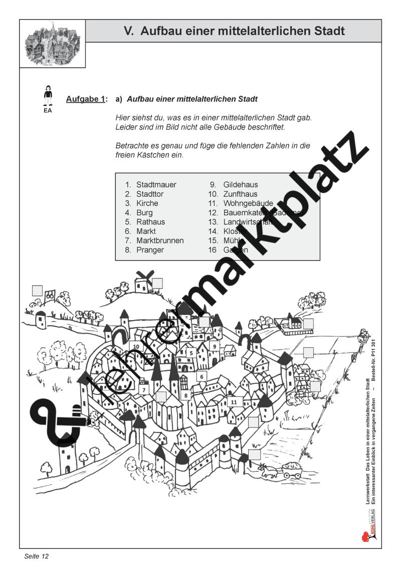 Aufbau einer mittelalterlichen Stadt – Geschichte, Sachunterricht ...