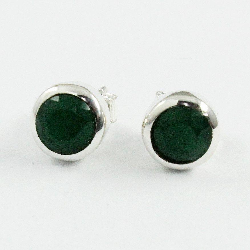 Emerald Agate Simple Design 925 Sterling Silver Earrings Studs ...