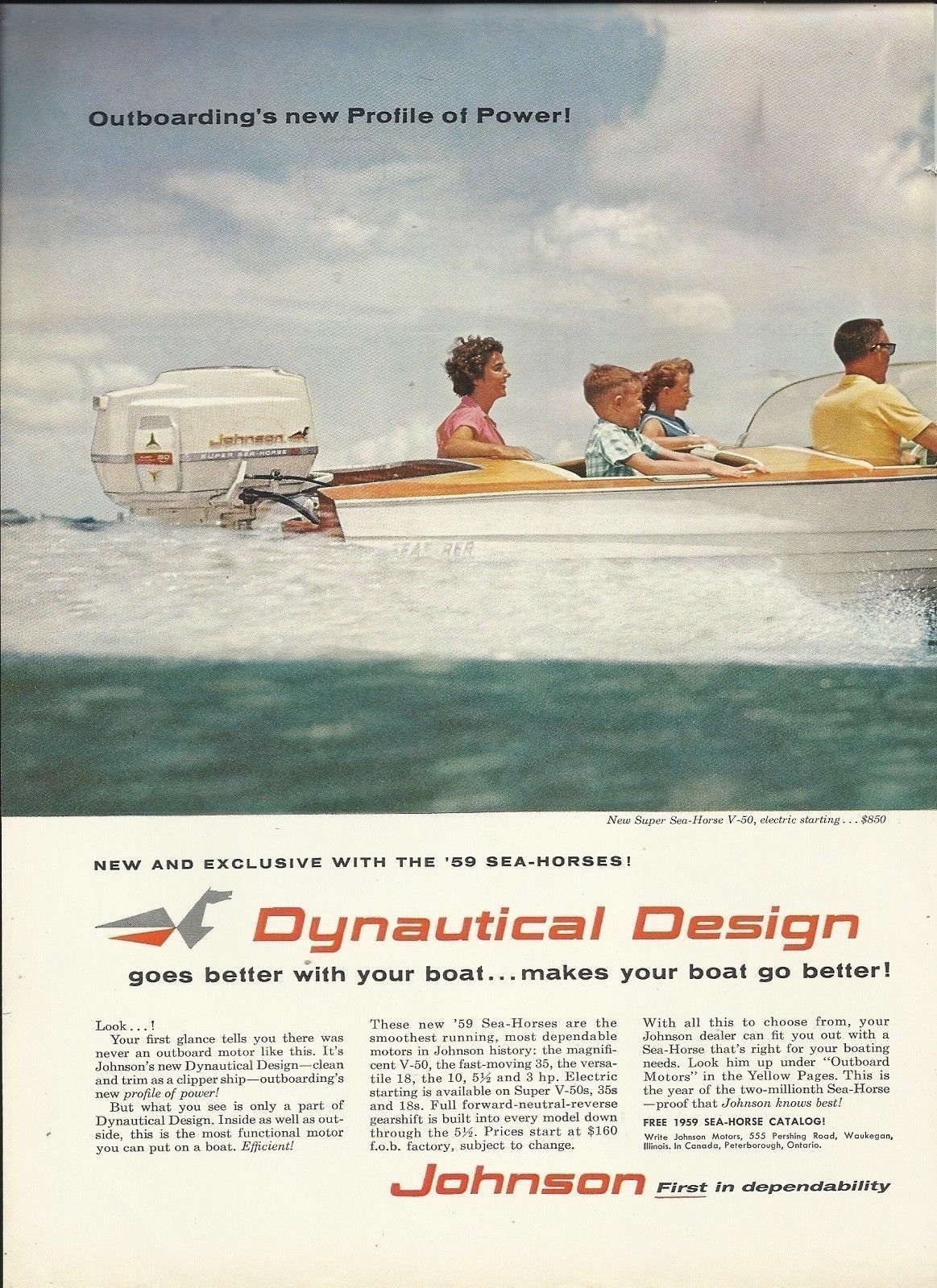 1959 Johnson Motors Color Ad- Super Sea Horse V-50- Seafarer Boat