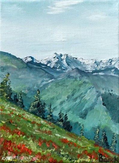 """Großglockner"" - Painting, Oil on Canvas (24 cm x 18 cm) by (W)ortschnipsel"