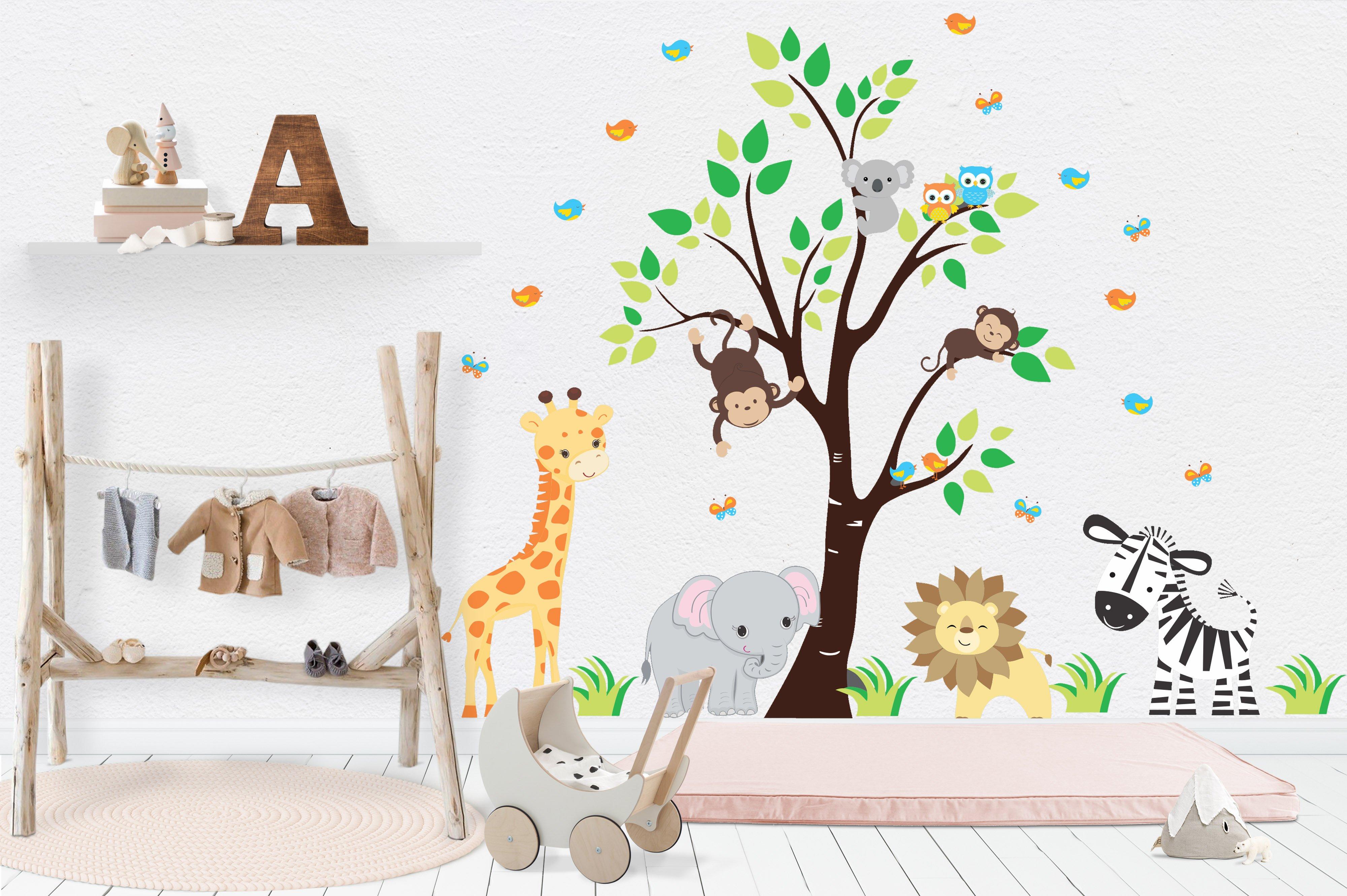 Nursery Wall Decals Safari Nursery Stickers Baby Room Decals Giraffe Elephant Lion Zebra Baby Room Decals Nursery Stickers Safari Nursery Stickers