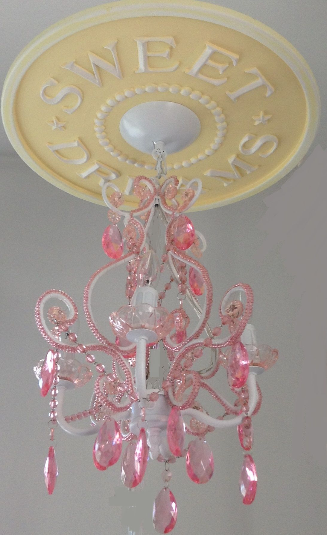 Sweet Dreams Ceiling Medallion in yellow distressed by Marie Ricci