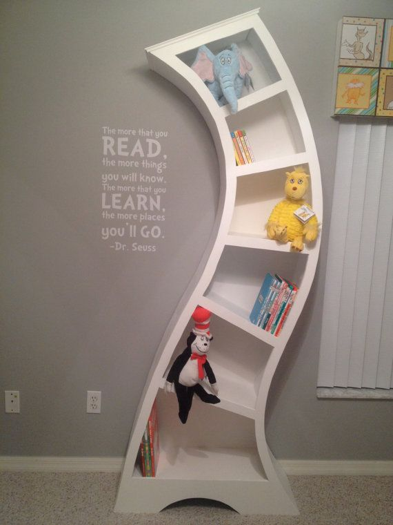 Girls Kids Childrens Wooden Nursery Bedroom Furniture Toy: Dr Seuss Wooden Unique Whimsical Custom Bookcase