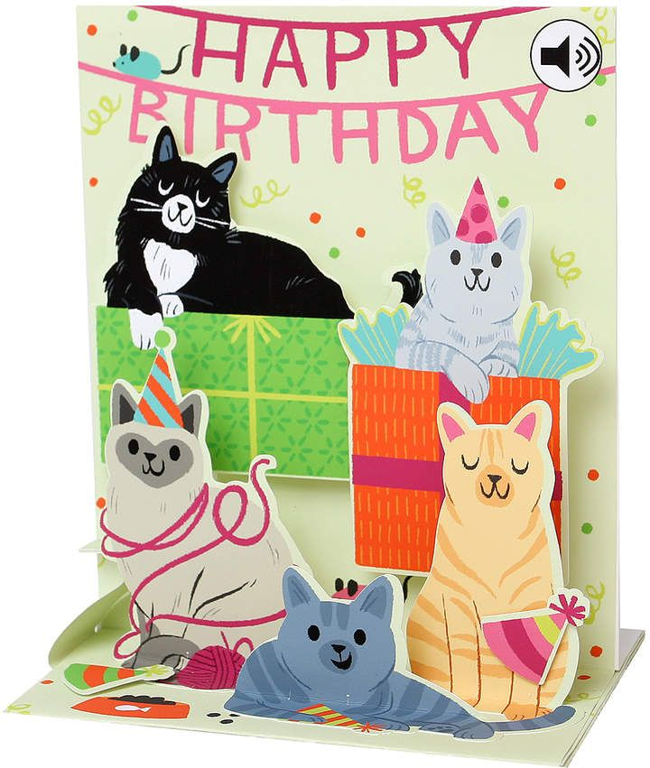 Feline Happy Birthday Pop Up Greeting Card With Sound Effects Affiliate