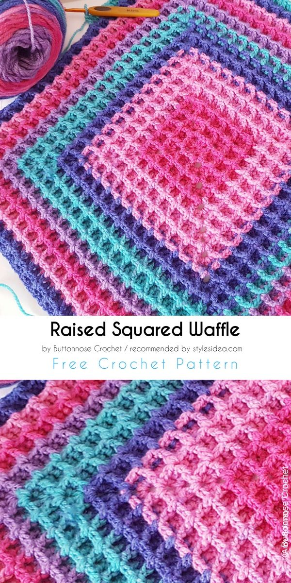 Raised Squared Waffle Free Crochet Pattern | Pinterest | Tejido ...