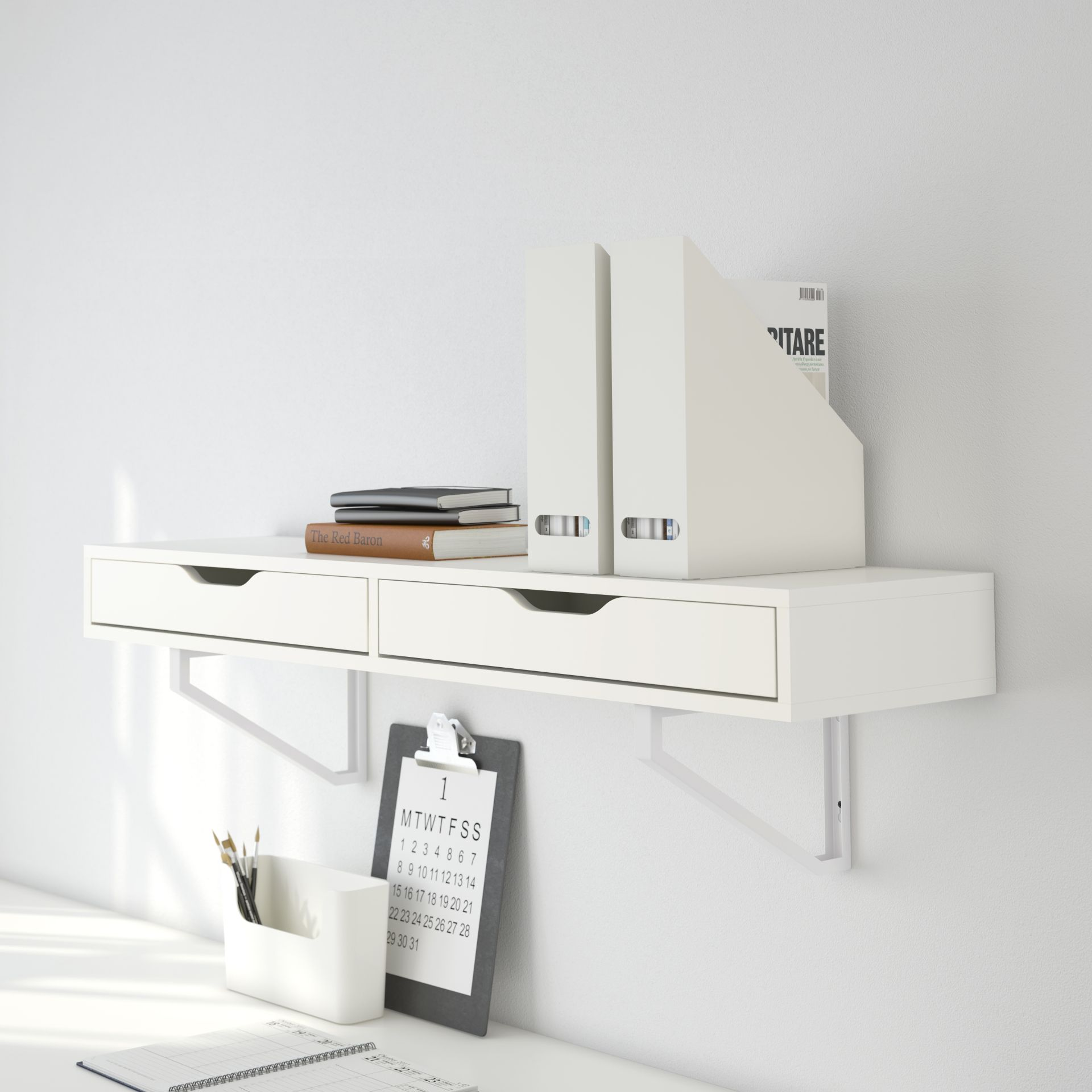 EKBY ALEX Plank met lades, wit | Femke | Designdroom | Pinterest ...