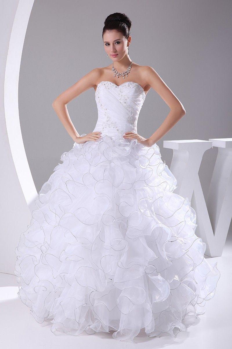 Wedding dresses ball gown sweetheart  Stylish Ball Gown White Organza FloorLength Sweetheart Wedding