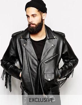buy online 0c346 b5cca Reclaimed Vintage Leather Biker Jacket With Fringing Chaqueta De Flecos,  Flequillo Hombre, Chaqueta De