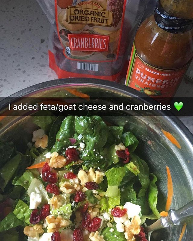 Love this salad 💚 chopped up organic romaine hearts, carrots, red onion, Trader Joe's Pumpkin vinaigrette, feta cheese crumbles and dried cranberries  #fallsalad#pumpkinsalad#goatcheese#fetacheese#romainehearts#driedcranberries#salads#freshsalad#pumpkinvinaigrette #traderjoes #snapchat #tastyfood #iifym #foodie #saladtime #saladgreens #saladgame #pumpkindressing #pumpkins #healthydinner #healthyideas #iifym #vegetarian#saladlover #lovesalad #babygreens  #saladgame  #yummysalad  #iifymgirls…