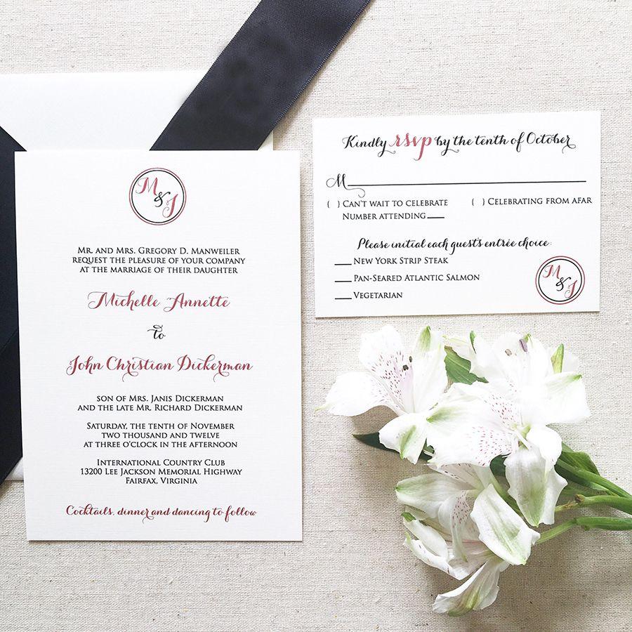 Circle Monogram Wedding Invitation | Monograms, Invitation ideas and ...